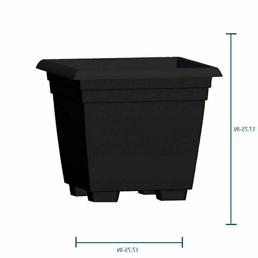 Large Black Square Plastic Planter 17.75-in W x 17.75-in H D