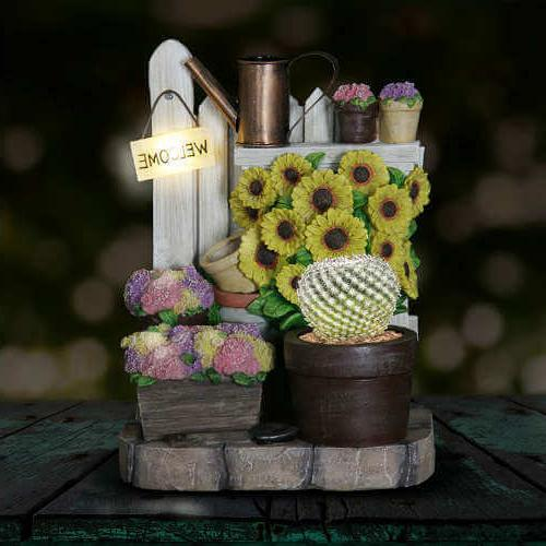 Exhart Planter Sunflowers, Battery Operated with Timer