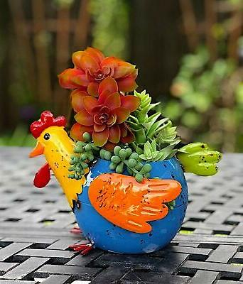 Mayrich Metal Planter Chicken Colorful Flowers Living F...