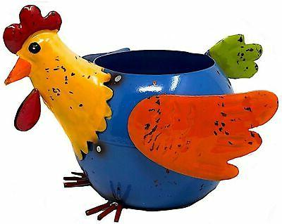 metal planter rooster chicken hen colorful succulent