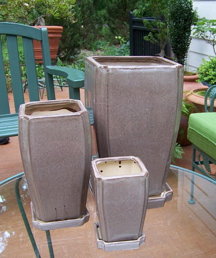 """BROWN 12"""" 9"""" RECTANGULAR PLANTERS WITH SAUCERS"""