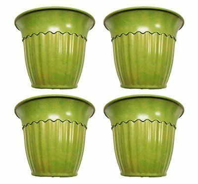 set of 4 green fluted round biodegradable