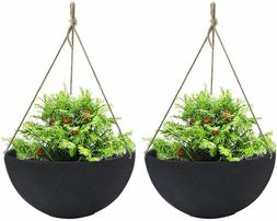 LA MUSE Large Hanging Planters for Outdoor Indoor Plants, BL