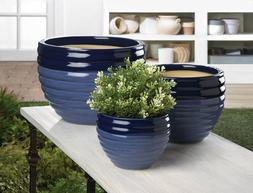 Large Outdoor Garden Planters Ceramic Flower Pots Duo Blue F