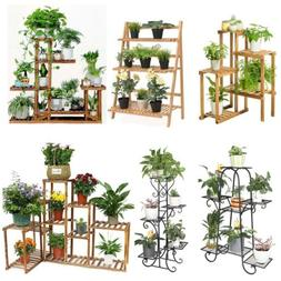 Large Size Metal/Wood Floor-Standing Pot Plant Stand Flower