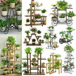Large Thick Multi Wood Plant Stand Wrought Iron Flower Shelf
