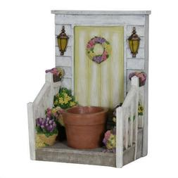 Exhart LED Planter with Yellow Door, Battery Operated with T