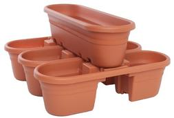 Bloem 21-inch Milano Rail Planter -4 pieces- Terra Cotta MRP