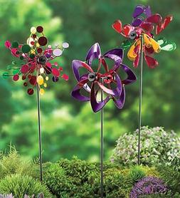 Mini Metal Outdoor Pinwheels - Perfect for Planters, Set of