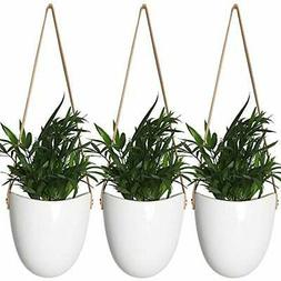 Modern White Ceramic Hanging Vertical & Wall Planters Plante