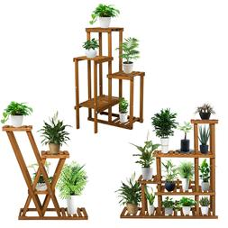 Multi Tier Wooden Flower Plant Display Stand Wood Shelf Stor