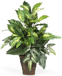 Nearly Natural 6527 Greens with Wicker Decorative Silk Plant