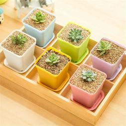 New 1X  Mini Succulent Planters Small Plastic Square Pot Flo
