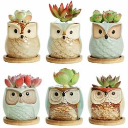 Owl Flower Pot Ceramic Succulent Planter Pots with Bamboo Tr