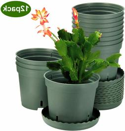 Plant Pots, ZOUTOG 6 inch Plastic Pots for Plants with Drain