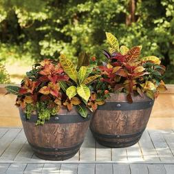 Southern Patio Resin Barrel Planters