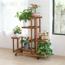 Rolling Plant Stand Natural Wood 6 Tier Flower Pot Rack on W
