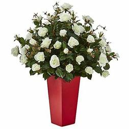 Nearly Natural Rose Bush Artificial Plant in Red Planter