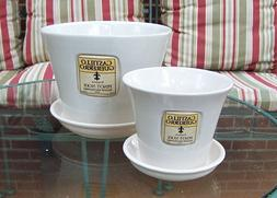 """SET OF 2 CERAMIC WHITE 8"""" AND 5"""" PLANTERS WITH SAUCER FLOWER"""