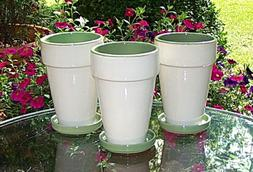 """SET OF 3 7"""" TALL CERAMIC PLANTERS WITH SAUCERS FLOWER POTS G"""
