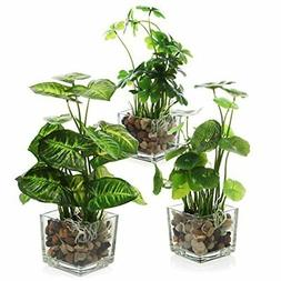 MyGift Set of 3 Artificial Plants Faux Tabletop Greenery w/