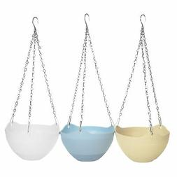 MyGift Set of 3 Colorful Self-Watering Hanging Planter Pots