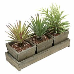 MyGift Set of 3 Rustic Brown Wood Succulent Planter Square P