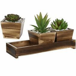 MyGift Set of 3 Torched Wood Succulent Planter Square Pots w