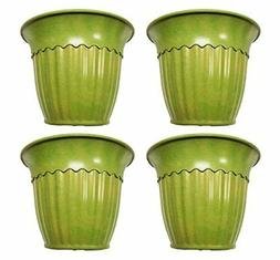 Set of 4 Green Fluted Round Biodegradable Bamboo Fiber Plant