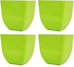 Set Of 4 Green Square Bamboo Biodegradable Planters - Our Pl