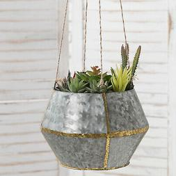 MyGift Silver Galvanized Metal and Brass Tone Hanging Plante
