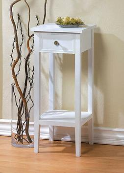 small white accent End side bedside Table Nightstand drawer