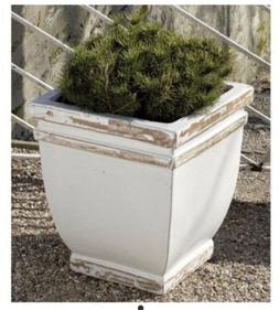 square rolled rim white wash planters springtime