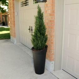 Tall Plastic Planters With Drainage Holes Black 4.1 Gal. Soi