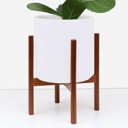 White Ceramic Planter w/ Wooden Stand - Large Plant Pot Indo