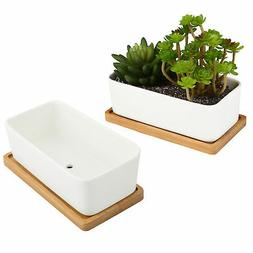 White Ceramic Rectangular Succulent Planters, Removable Bamb